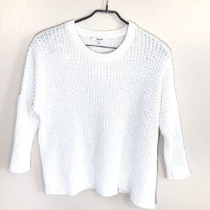 Madewell M White Linen Knit Dolman Sweater